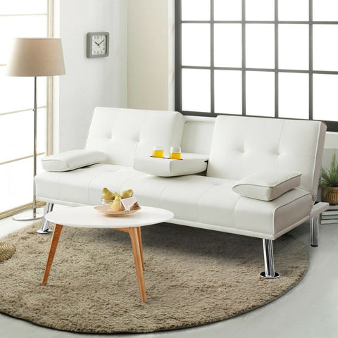 Convertible Leather Folding Futon Sofa with Cup Holders and Armrests