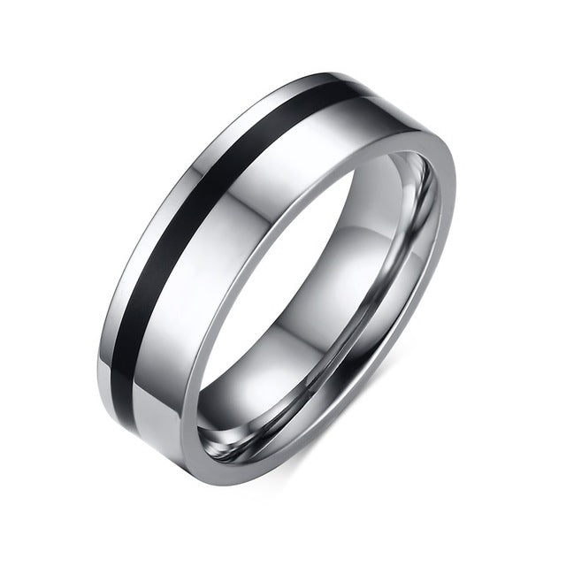 Black Strip Wedding Ring - Couple