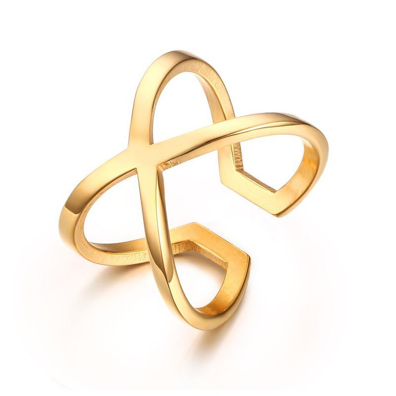 """X"" Cross Ring Gold Color"