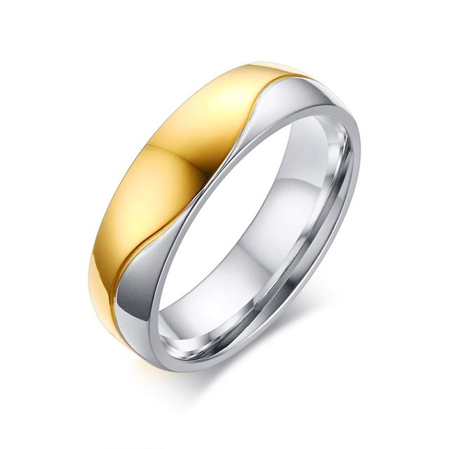 Comfort Geometric Silver Gold Wedding Ring - Couple
