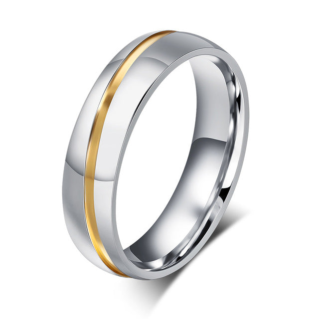 Simple Line Design Couple Rings - Stainless Steel