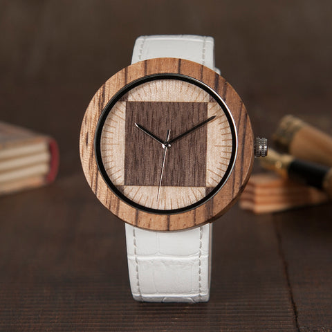 Luxury Design Wood Watches - Genuine Leather Strap - White - Brown