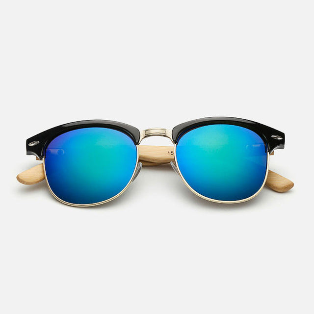 Unisex Semi-rimless Bamboo Sunglasses UV400