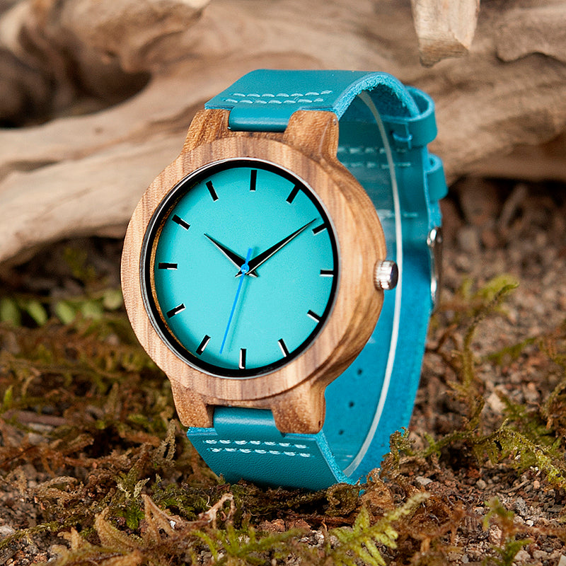 Blue Leather Strap Analog Wooden Watches