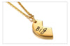 Heart Shape Pendant Necklace - Sister Series - Gold Color