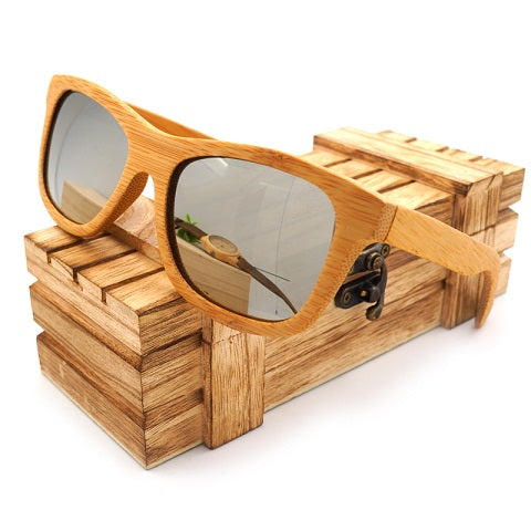 Vintage Natural Wooden Sunglasses Polarized Mirror Coating Lenses