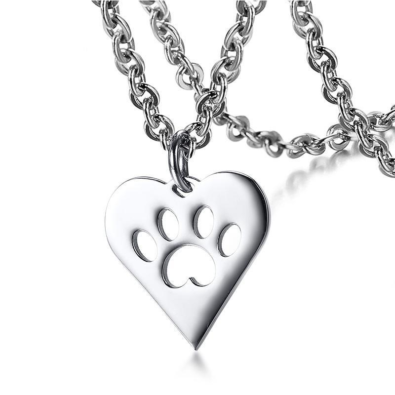 Charm Necklace - Paw Heart Shape