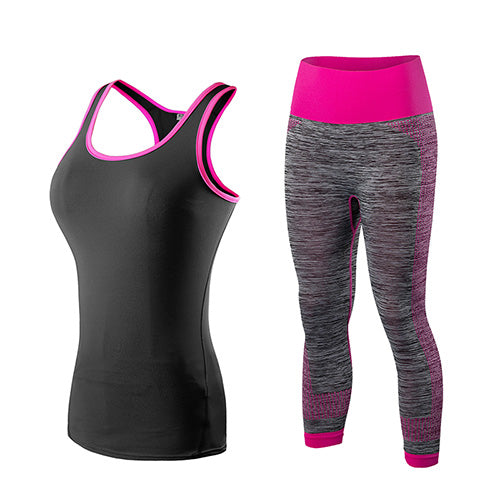 Fancy Quick Dry Yoga Sportswear (Black Pink-A)