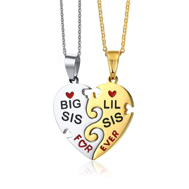 Interlocked Heart Shape Pendant Necklace - Sister Series