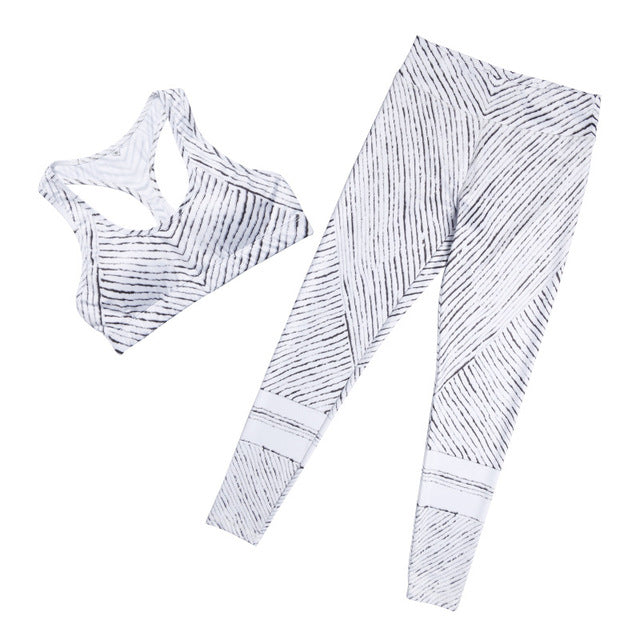 Sexy Striped Print Black And White Tracksuits ( 2 Colors Available )