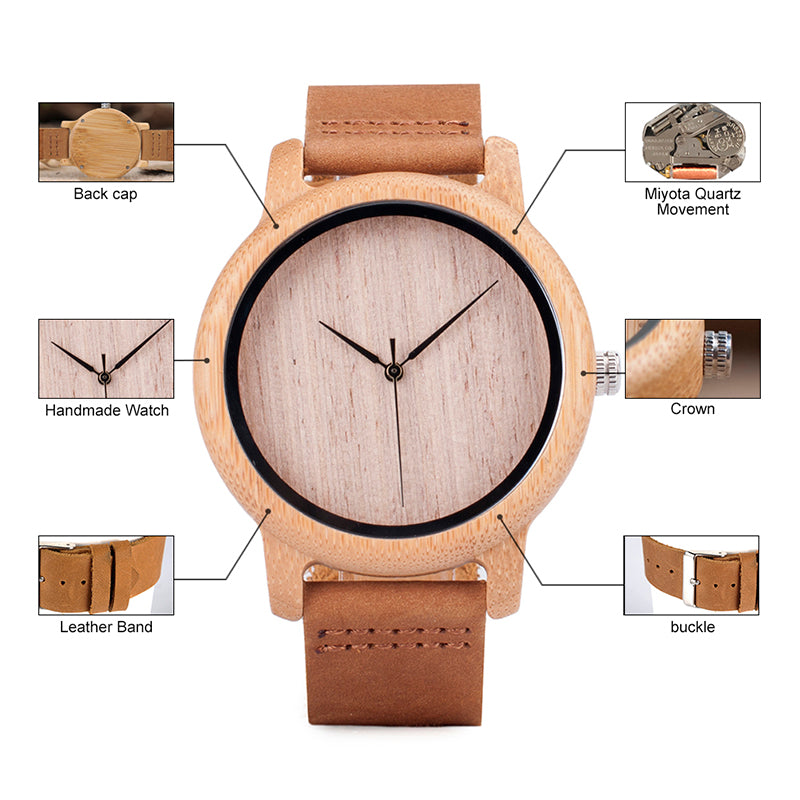 watch creative bamboo triangle business men nature dial luxury wooden wood fashion handmade clock watches inverted