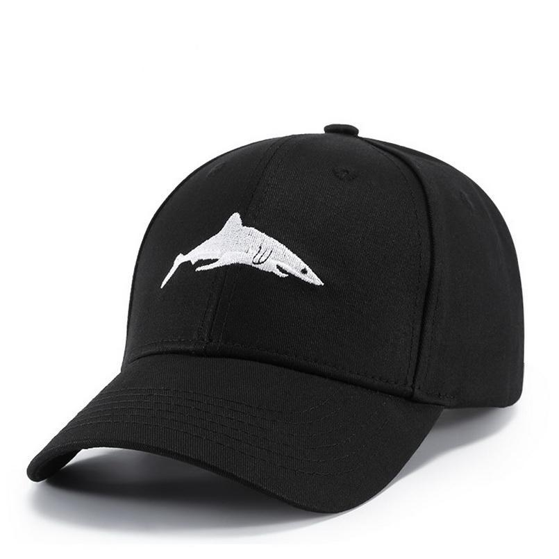 Shark Embroidered Black Baseball Cap