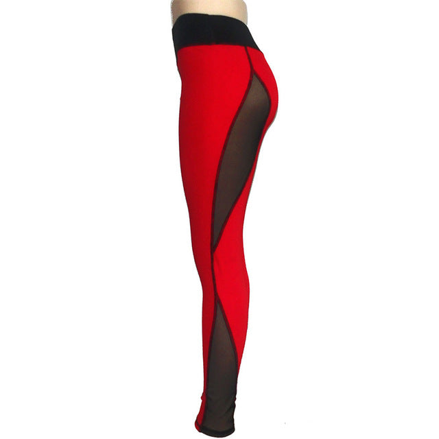 Sexy Red Mesh High Waist Leggings