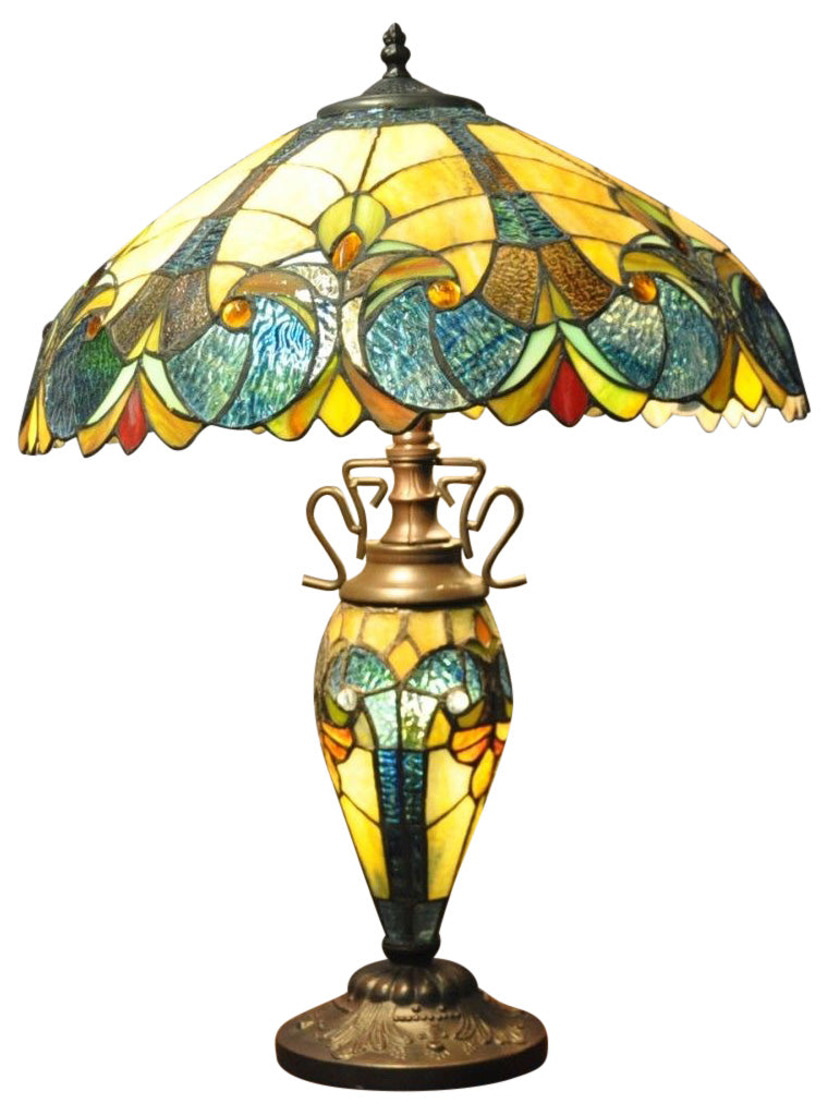 Picture of: Blue Yellow Double Tiffany Table Lamp 68cm Bohokin