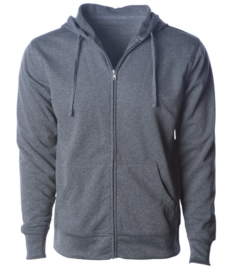Heather Grey Polyester Zip