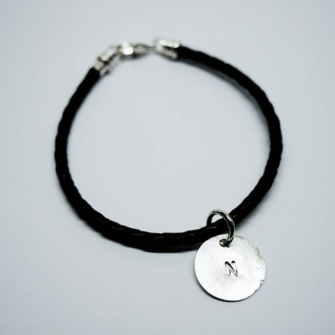 Initial Pendant with Black Braided Leather Bracelet