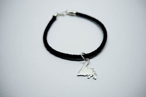 Newfoundland Charm and Braided Leather Bracelet