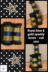 Royal blue & gold sparkly boots (set of 4)