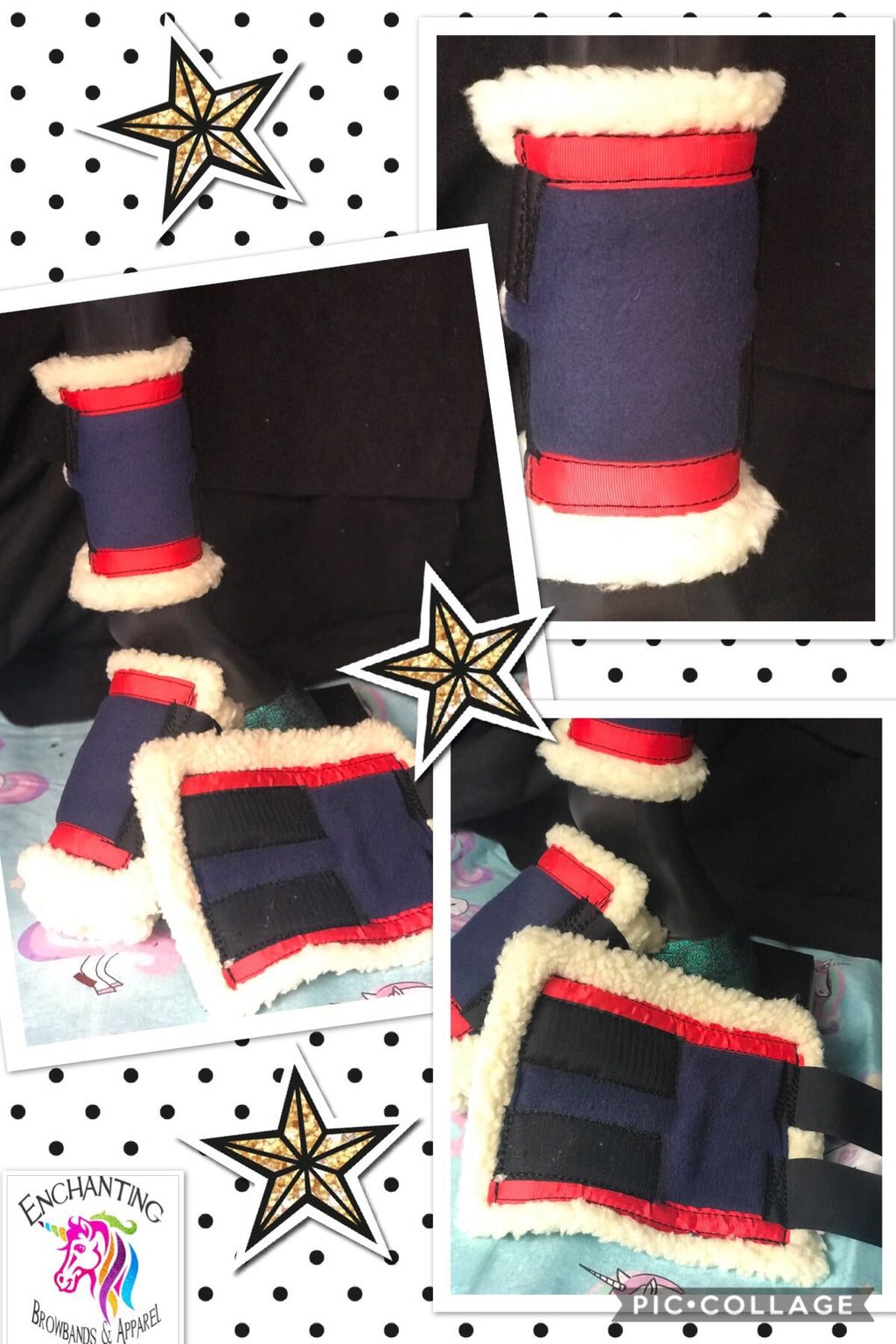 Navy & red sherpa boots (set of 4)
