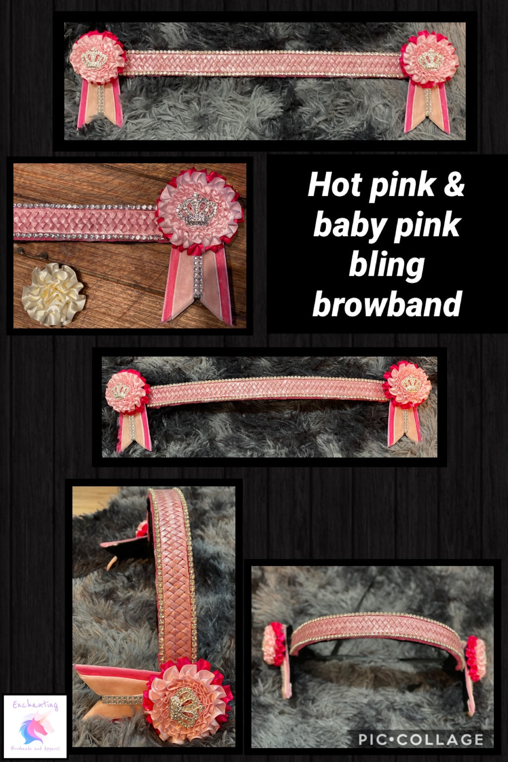 Hot pink & baby pink bling browband