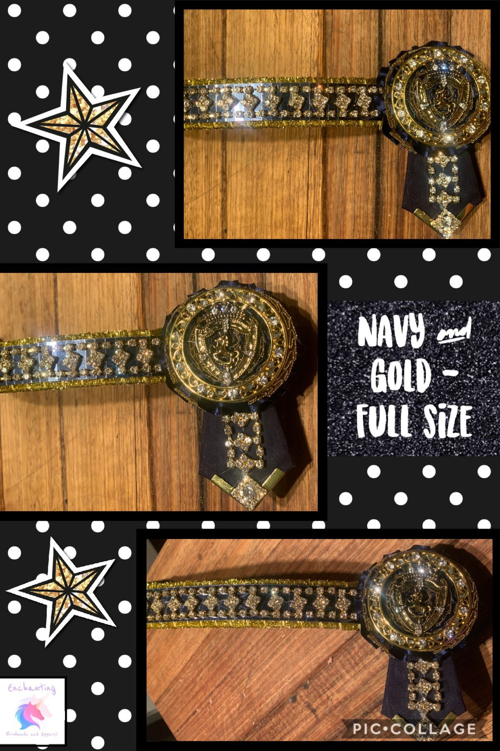 """The prince"" browband navy & gold"