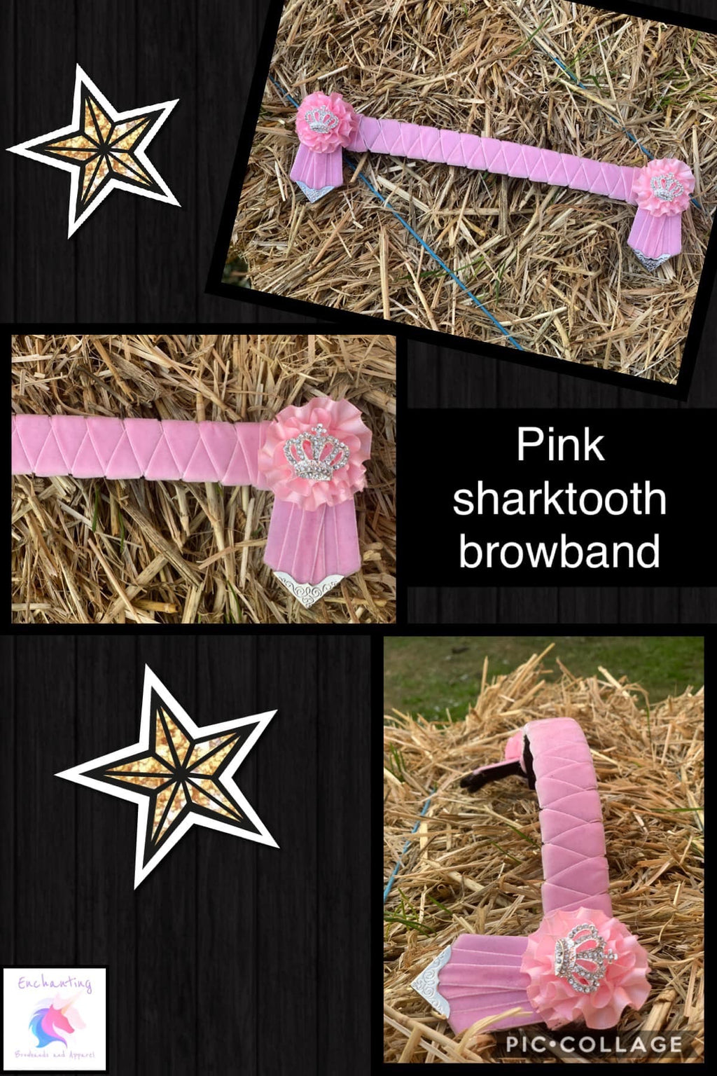 Light pink shark tooth velvet browband