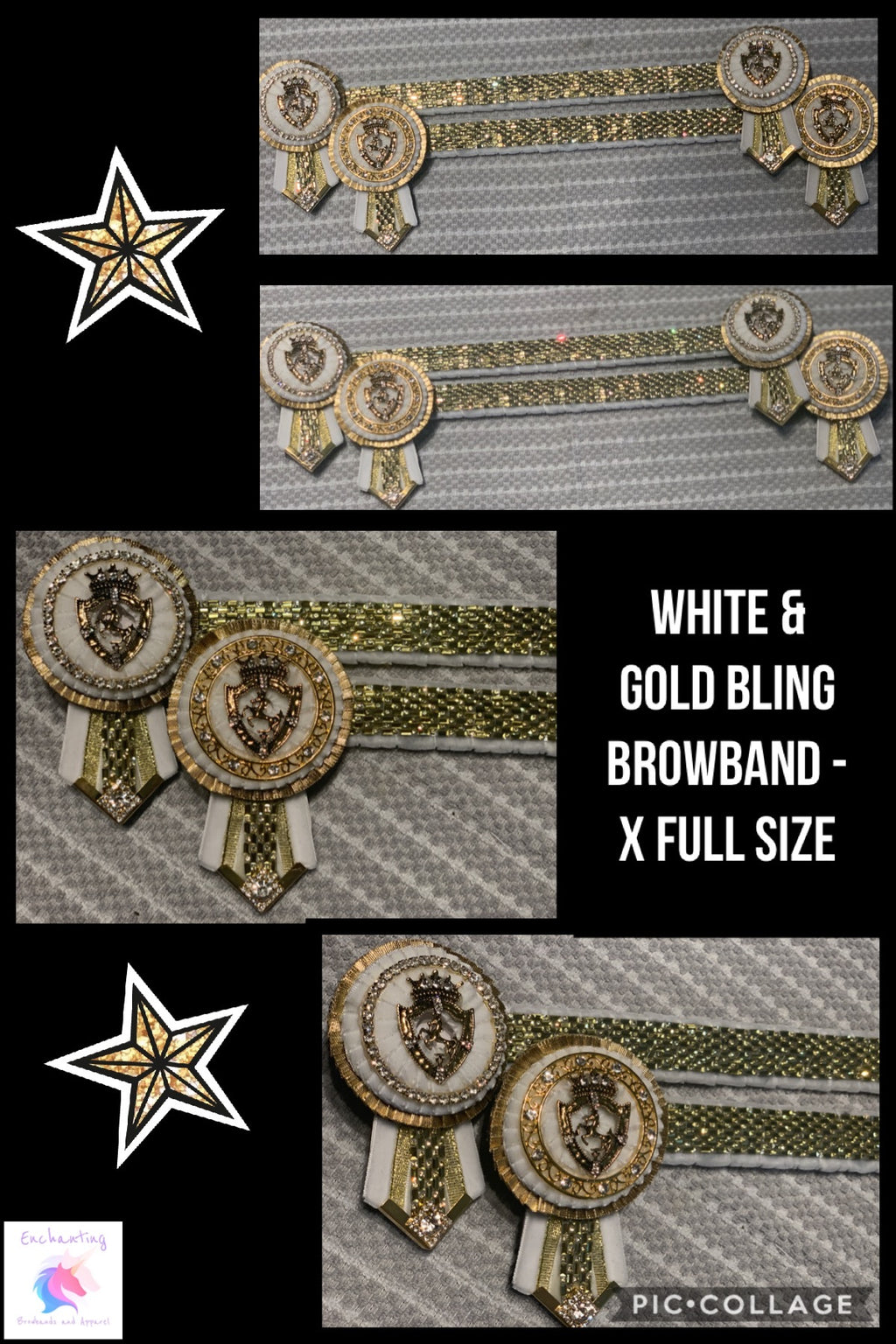 White & gold bling browband