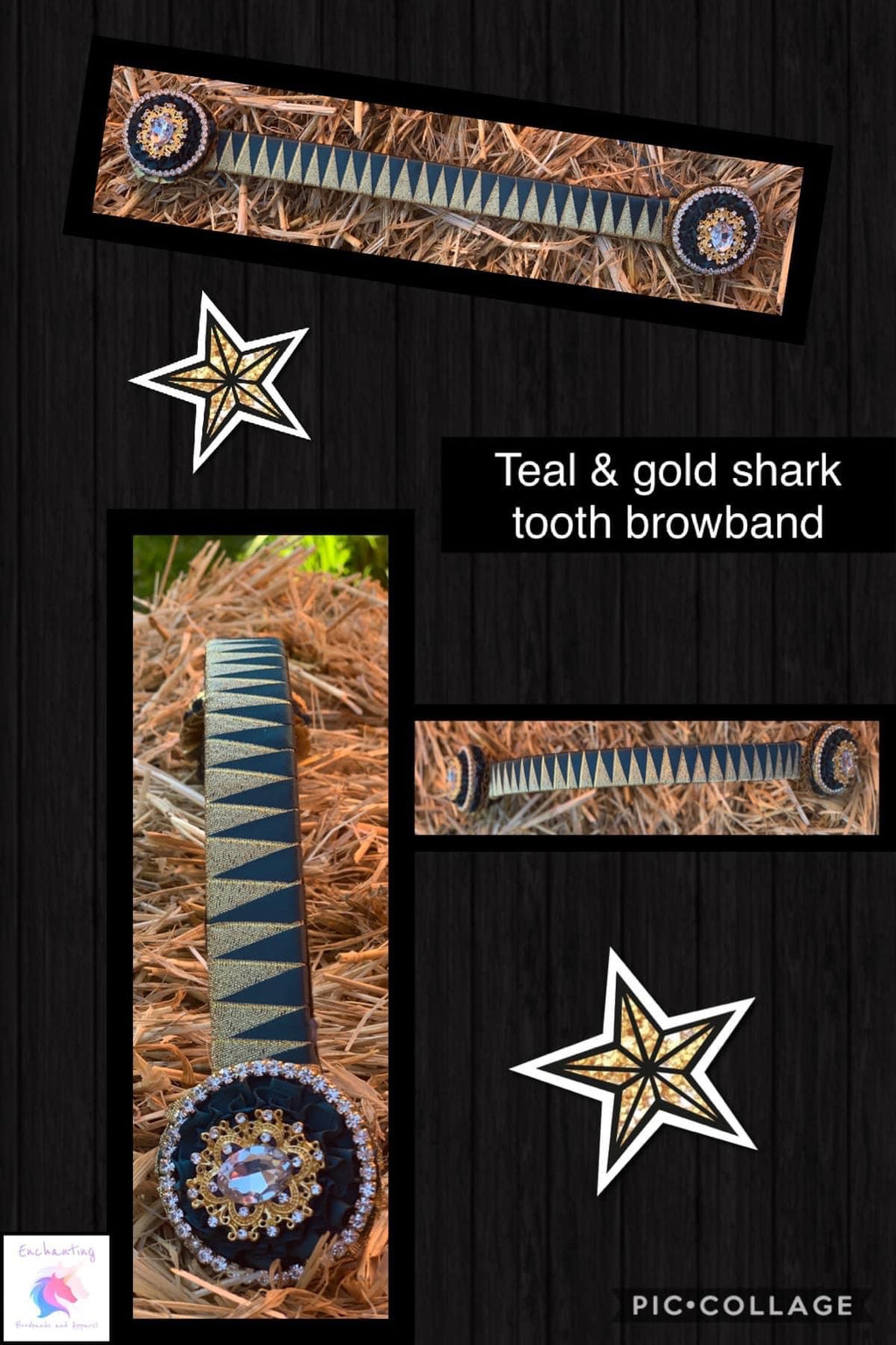 Teal & gold sharktooth browband