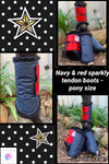 Navy & red tendon boots (set of 4)
