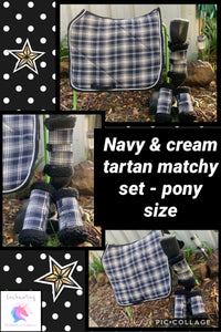Navy & cream tartan matchy set