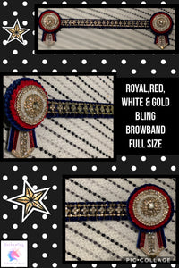 Royal,red,white & gold bling browband