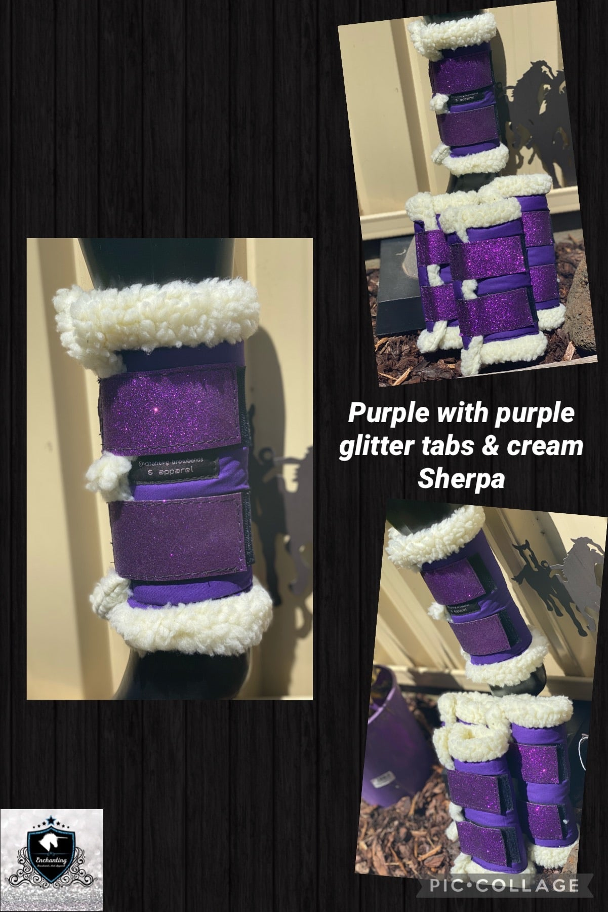 Purple boots with purple glitter tabs