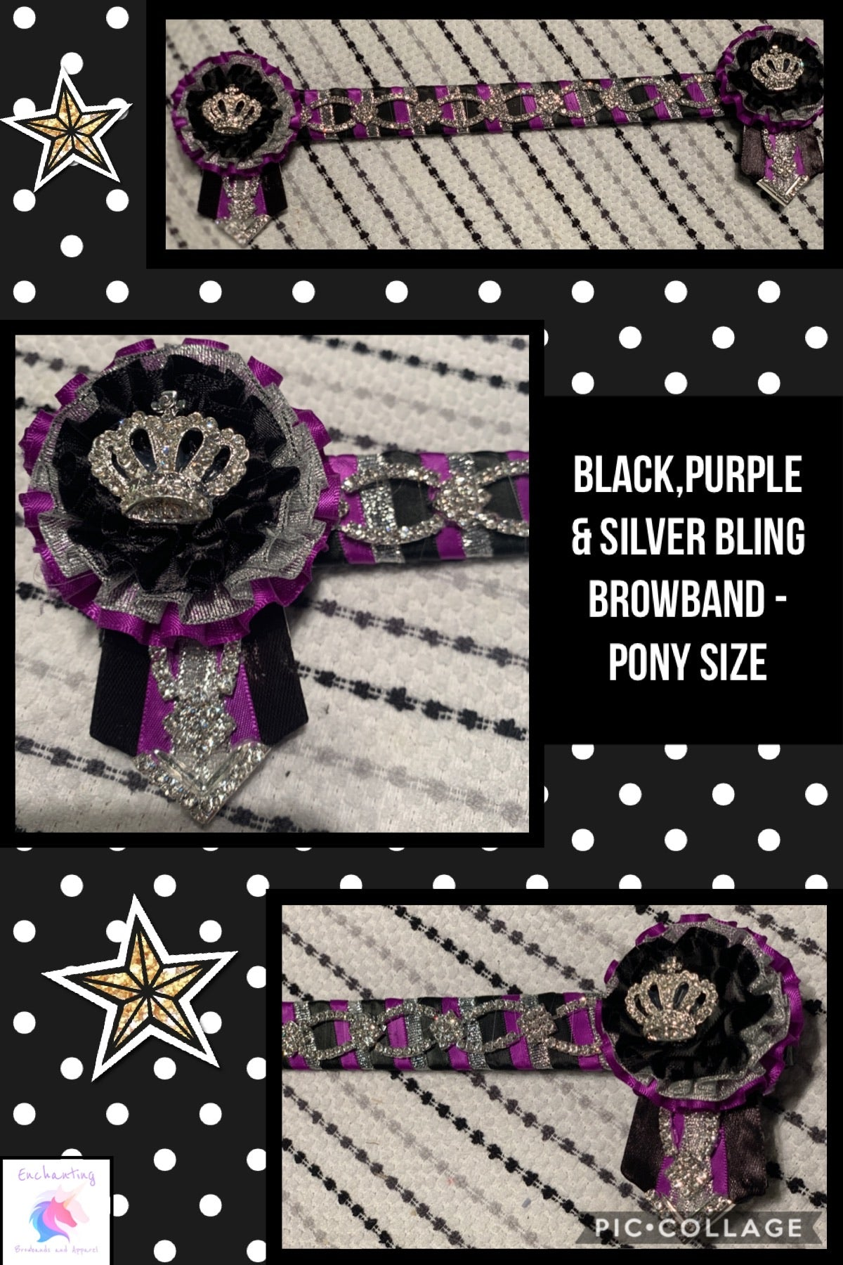 Black,purple & silver bling browband