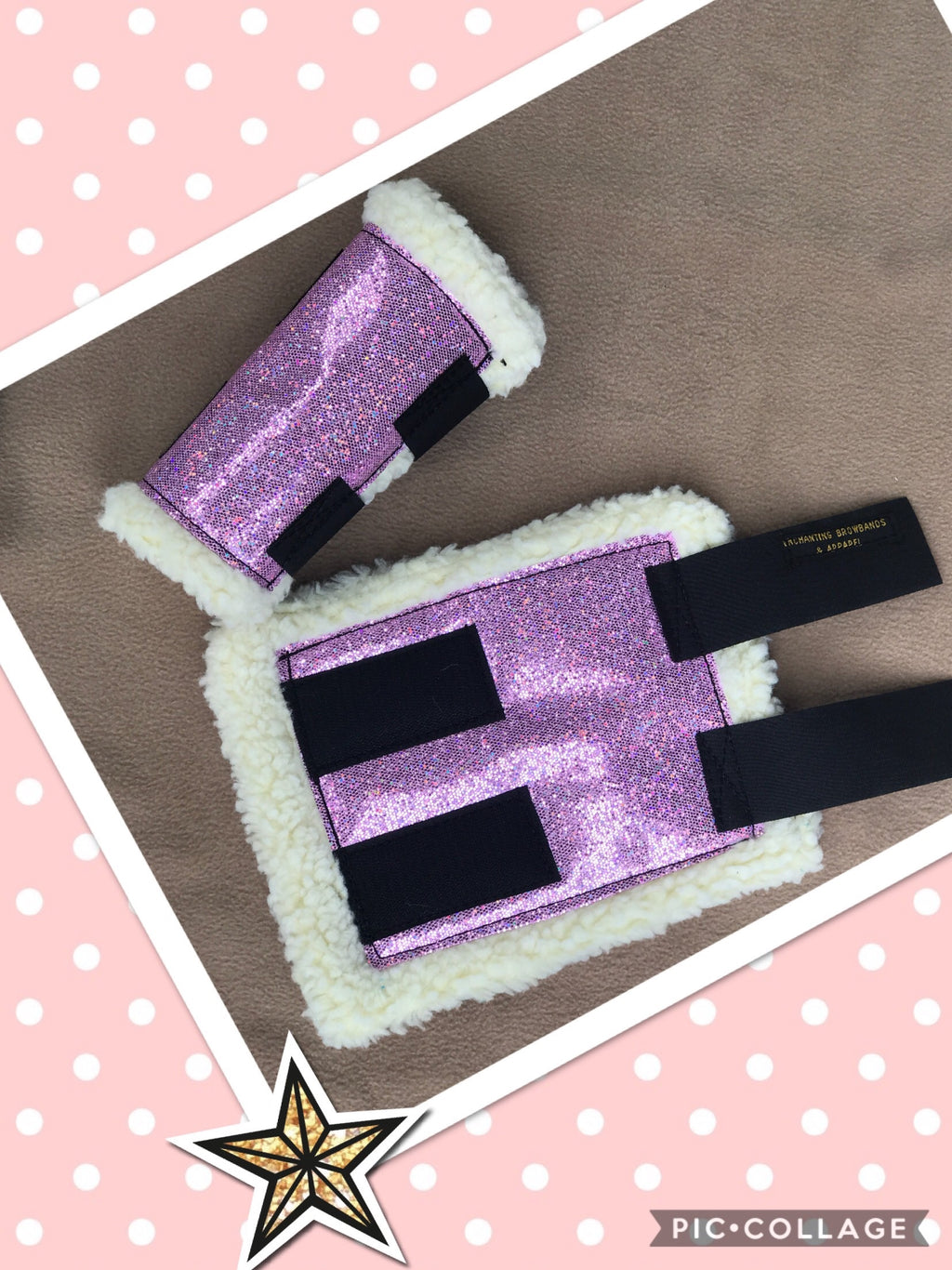 Pink sparkly sherpa boots set of 2