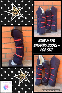 Navy & red shipping boots