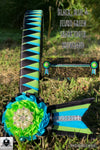 Black, blue & fluro green sharktooth browband