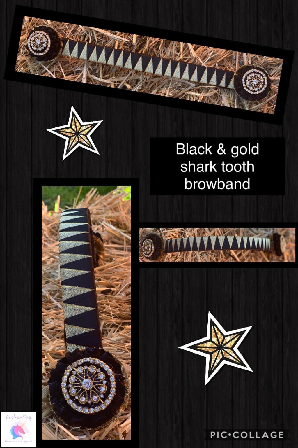 Black & gold sharktooth browband