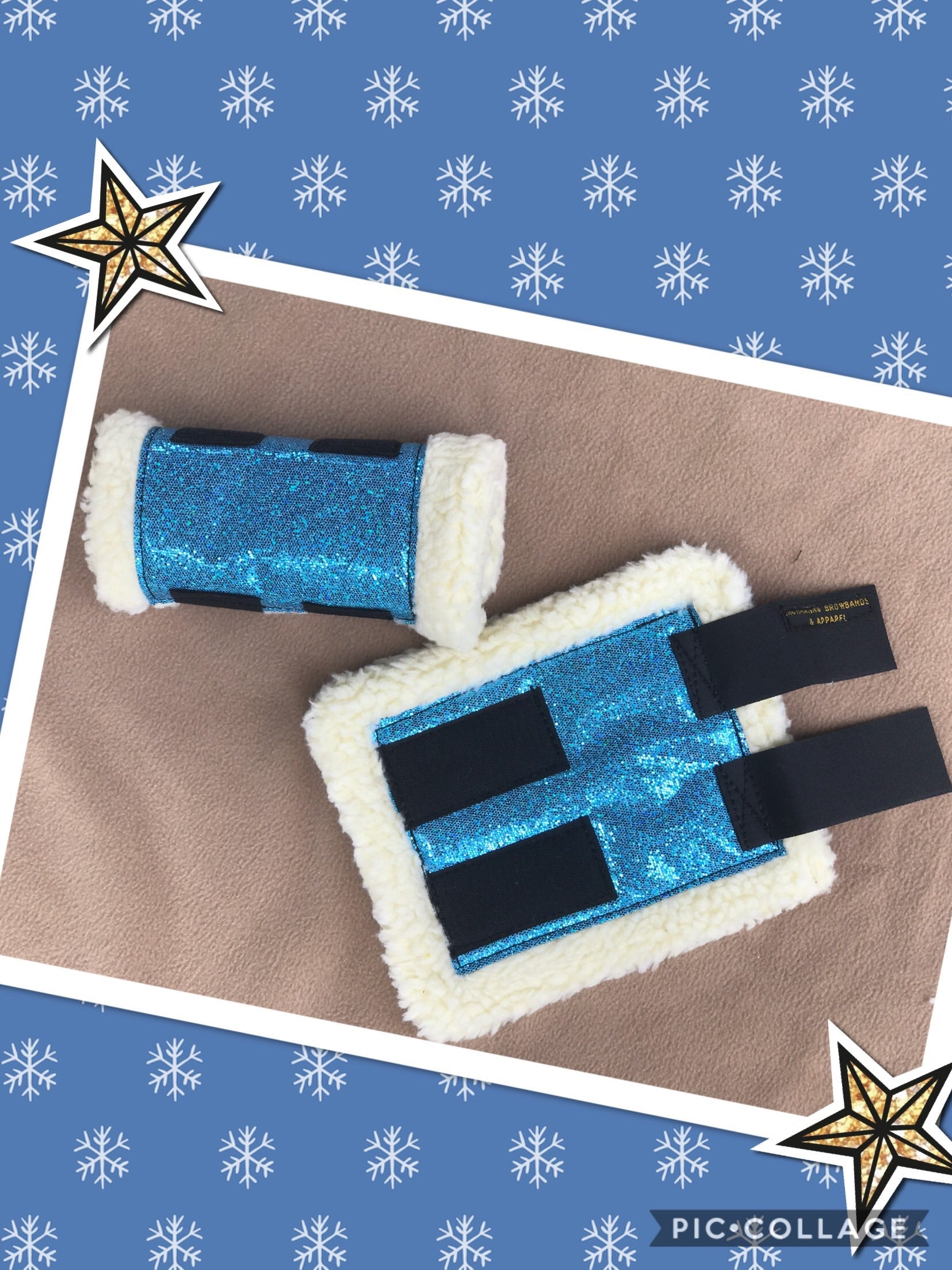 light Blue sparkly sherpa boots! (Set of 4)