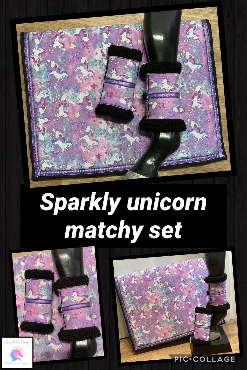 Unicorn sparkly matchy set