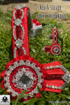 Red & silver bling browband