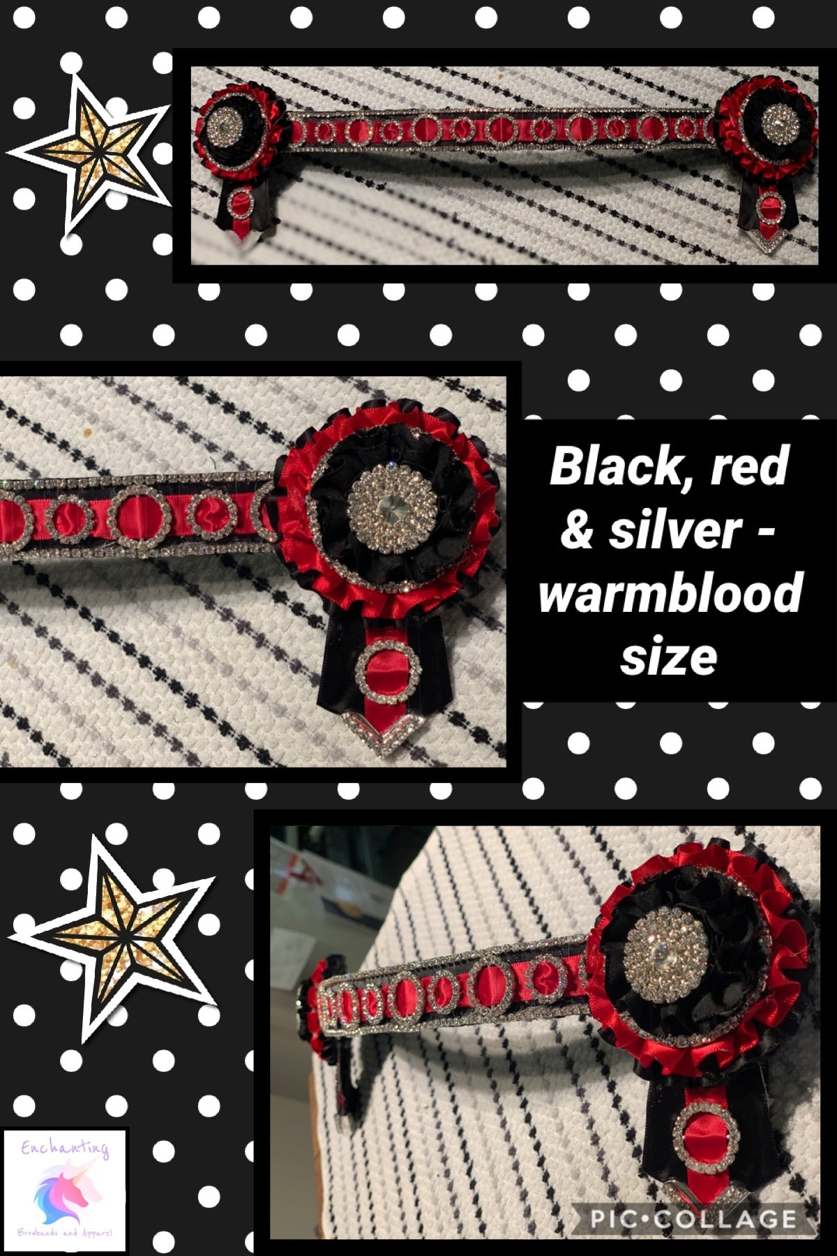 Black, red & silver browband