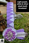 Light purple, white & silver shark tooth browband