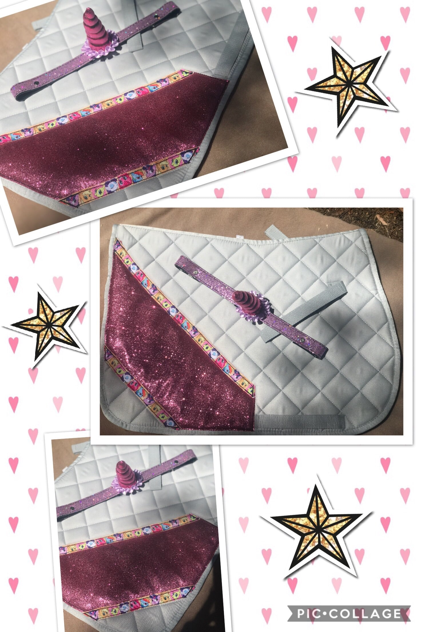 Pink sparkly saddle cloth with unicorn browband
