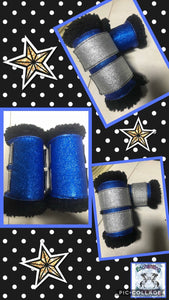 Royal blue sparkles with silver tabs x 4