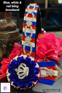 Royal, red & white bling browband