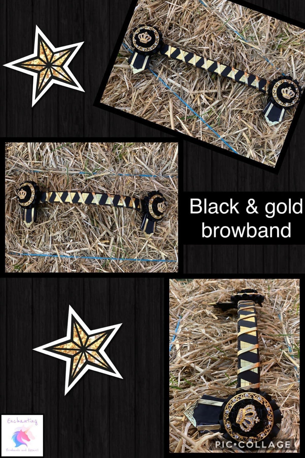 Black & gold browband