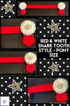 Red & white shark tooth browband