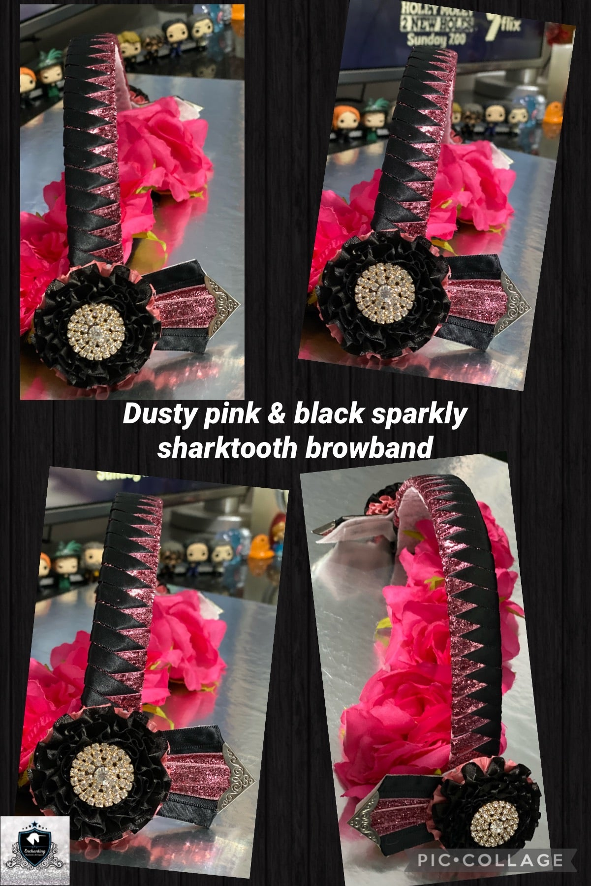 Dusty pink & black sparkly sharktooth browband