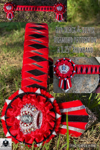 Red,black & silver diamond pattern browband