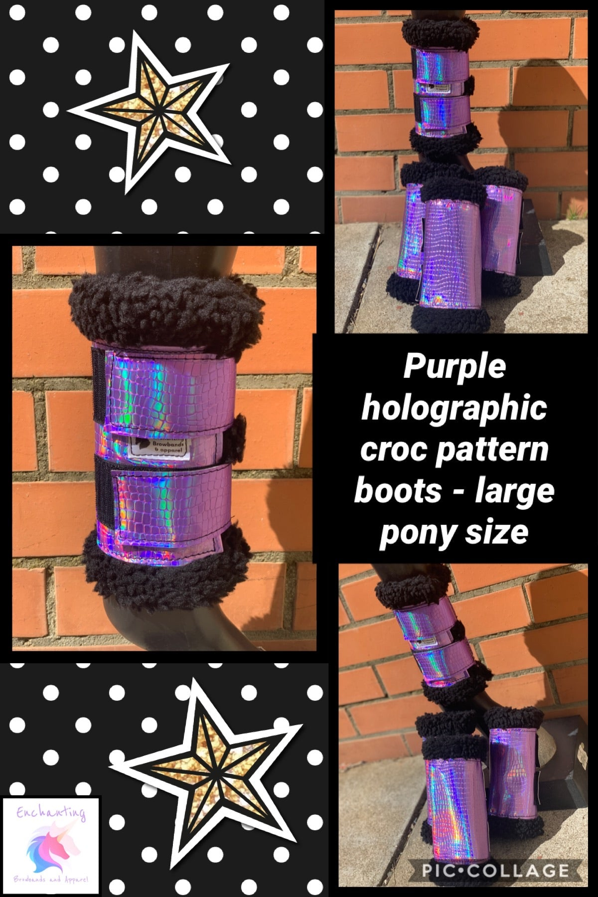 Purple holographic croc pattern boots